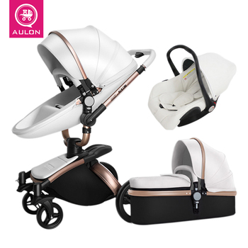 Luxury Baby Stroller 3 In 1  Aulon Baby Stroller Pu Leather Can Sit and Lie Four Seasons Winter  Baby  Strollers