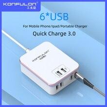 Cargador rápido QC3.0 para móvil, cargador de pared para Iphone 12, con 6USB, enchufe para UE, EE. UU., Reino Unido