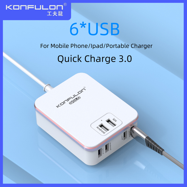 Quick Charge QC3.0 Universal 6USB Mobile Charger US UK EU Plug Wall Charger For Mobile Phone Quick Wall Charger For Iphone 12