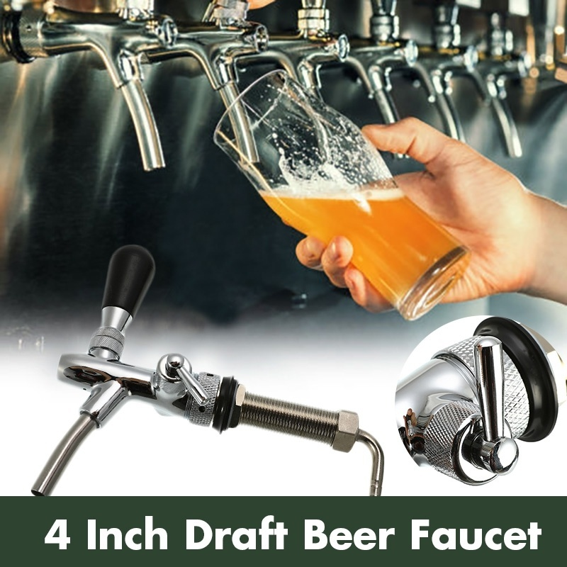 Stainless Steel G5/8 Beer Faucet Adjustable 4 Inch Draft Beer Faucet Shank With Chrome Plating Tap Dispenser Homebrew Barware image