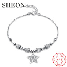 SHEON 100% Authentic 925 Sterling Silver Star Light Sparkling CZ Chain Link Women Bracelet Jewelry Gift