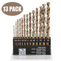 Drill Bits 13pcs/set Package HSS-CO 1.5-6.5mm High Speed Steel Wood Metal Drilling High Speed Steel Cobalt Twist Drill Bit Set