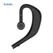 Kebidu Bluetooth 5.0 Headset Business Waterproof Ear Hook Single in-ear Earphone 180 Rotation Music Sports Headset  Long Standby