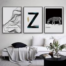 Nordic Z Milimalism Poster Print Zebra Zijde Abstract Wall Art Canvas Schilderij Foto Slaapkamer Woonkamer Home Decor No Frame