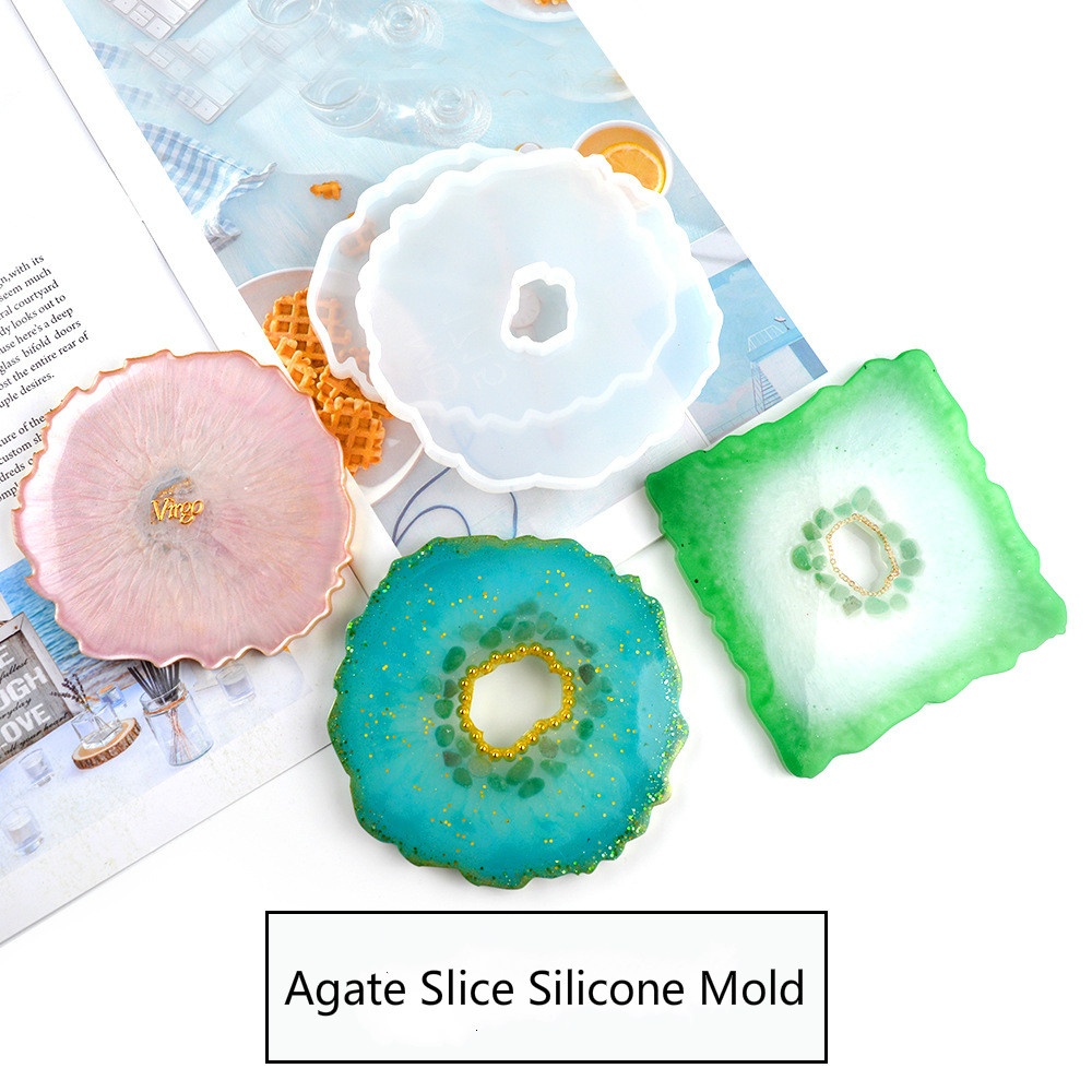 New Agate Slice Silicone Mold Crystal Mold Make Your Own Coaster Resin Art Supplies Clear Coaster Mold Home Decoration Craft