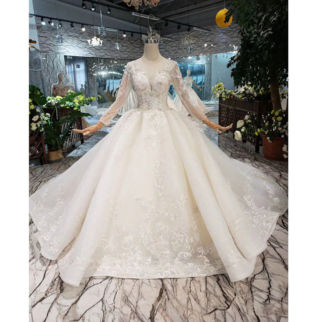 BGW HT569 Ball Gown Wedding Dresses Organza Illusion O neck Long Tulle Sleeves Corset Wedding Gown With Long Train 2020 Fashion
