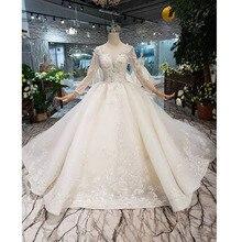 Bgw ht569 vestido de baile vestidos de casamento organza ilusão o pescoço longo tule mangas corset vestido de casamento com trem longo 2020 moda
