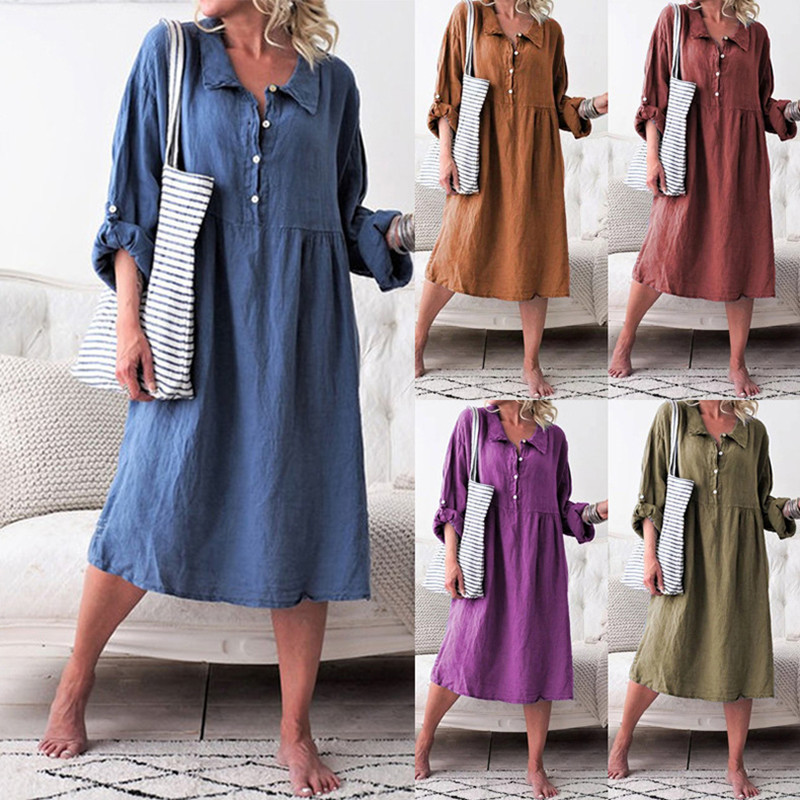 Cotton Linen Long Women Dress Turn-down Collar Long Sleeve Autumn Dress Fashion Plus Size Casual Office Lady Vestidos Loose Robe