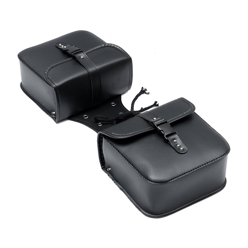 1 Pair Saddle Bags Waterproof Motorcycle PU Leather Side Storage Pouch Black Holder Organizer Universal