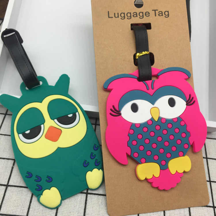Reizen Accessoires Creatieve Bagagelabel Cartoon Uil Silicagel Koffer ID Addres Houder Bagage Boarding Tags Draagbare Label