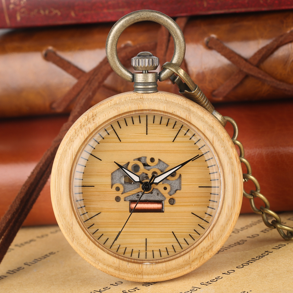 Vintage Wooden Quartz Pocket Watches Unisex Pendant Chain Lightweight Wooden Watch Case Chain