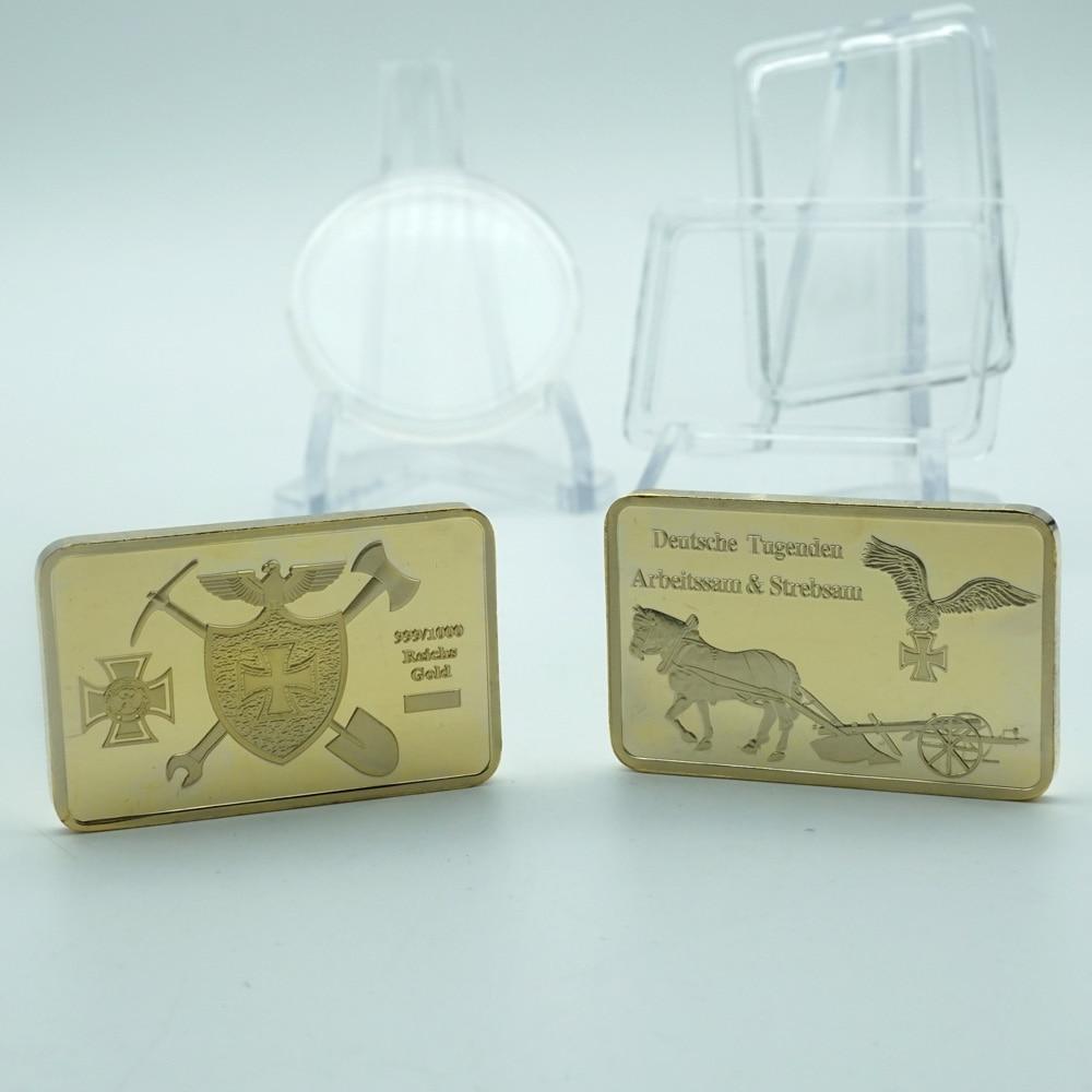 5pcs/lot 1oz 999 Fine Gold Plated Bar with Eagle Coin GERMAN WW2 IRON CROSS Metal Bullion Bar Souvenir