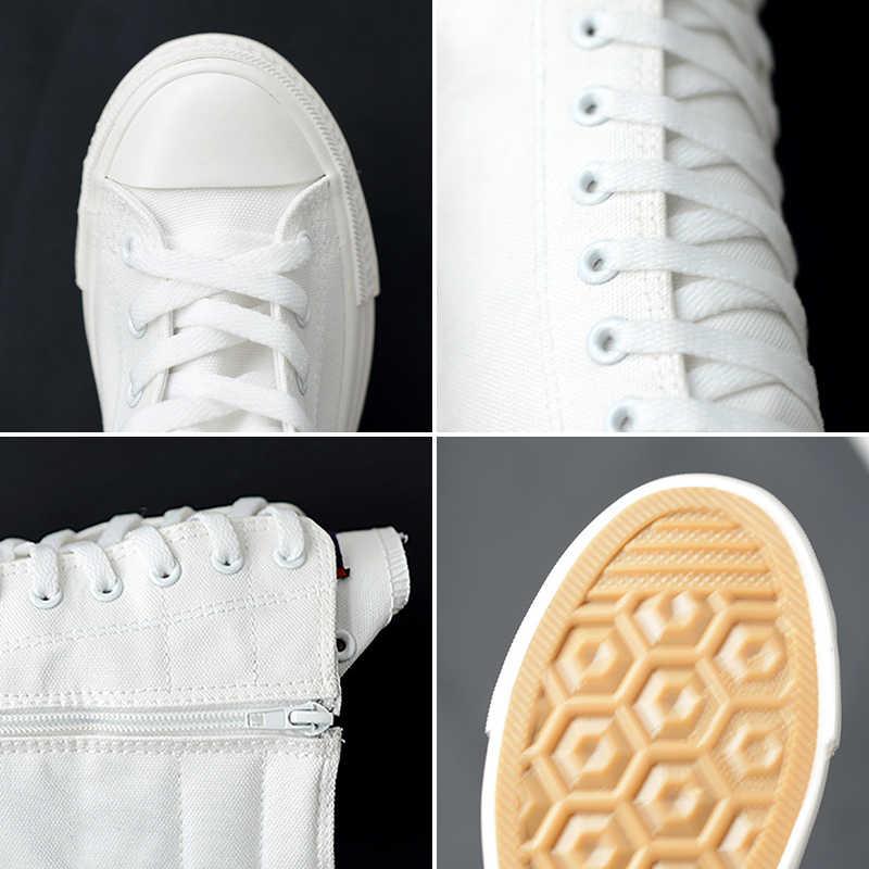 2020 Lente Vrouwen Canvas Lace Up Kruis Gebonden Laarzen Zip Plus Size Dames Platte Witte Zwarte Schoenen Vrouwelijke casual Sneakers