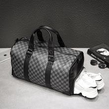 Moda czarne męskie damskie torby podróżne wszechstronna duża pojemność Sport Fitness torba na pokład Pu skóra biznes Plaid Trips torebki tanie tanio CN (pochodzenie) zipper Versatile 36cm SOFT 42cm 24cm Podróż torba