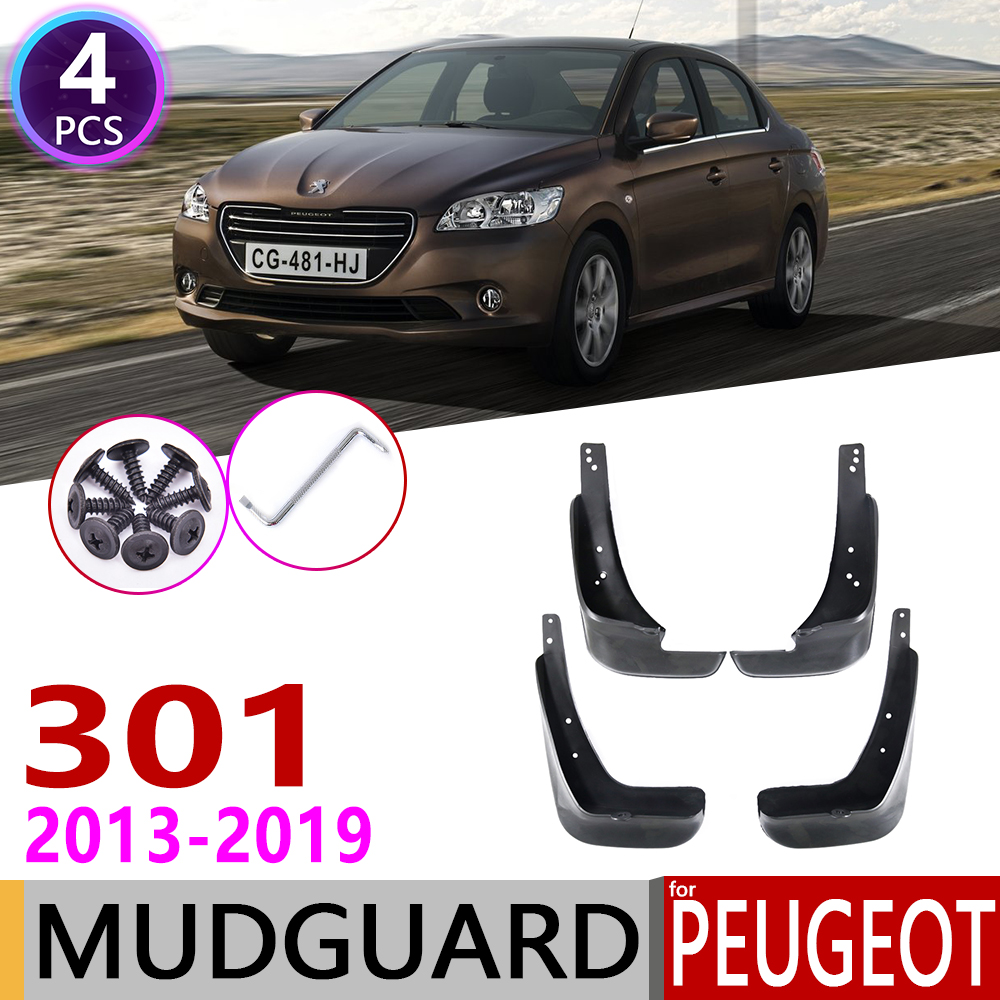 Front Rear Mudflaps For Peugeot 301 2013~2019 Fender Mud Guard Flap Splash Flaps Mudguards Accessories 2014 2015 2016 2017 2018