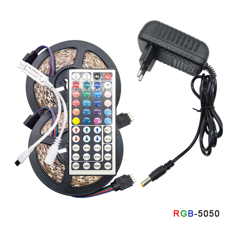 RGB LED Light Strip SMD 5050 2835 Flexible LED Strip Light Strip RGB Led Strip Diode Strap DC 12V + Remote Control + Adapter