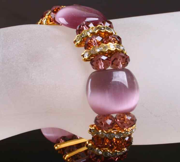 Popular purple cat eye stone beads stretch bracelets fashion crystal beads bracelets gcb1157