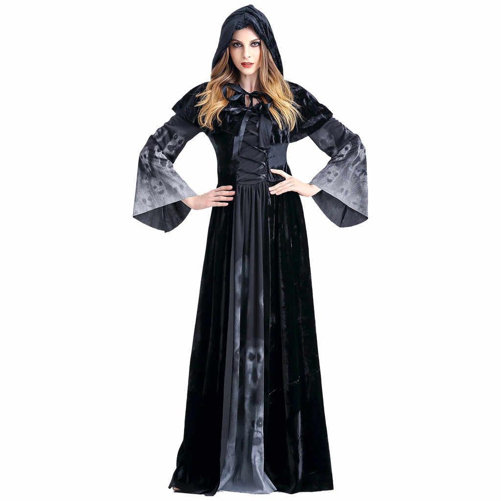 Gothic Phù Thủy Đầm Ma In Hình Đầu Sọ Quỷ Đen Tầng Chiều Dài Đầm Dự Tiệc Nữ Thu Đông Halloween Đầm F817
