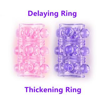 Dildo Cock Ring rękaw na penisa produkty do seksu silikonowe TPR Gay zabawki erotyczne dla mężczyzn męski pierścień na penisa opóźnieniający wytrysk bez wibratora tanie i dobre opinie Green Baby Penis Sleeve Penis pierścionki 3 5*5cm 9 6g