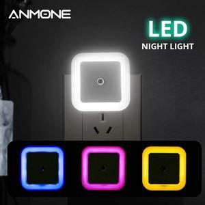 Image 1 - Kablosuz sensör LED gece lambası Mini kare indüksiyon gece lambası ab abd Plug çocuk çocuk odası oturma odası ışık