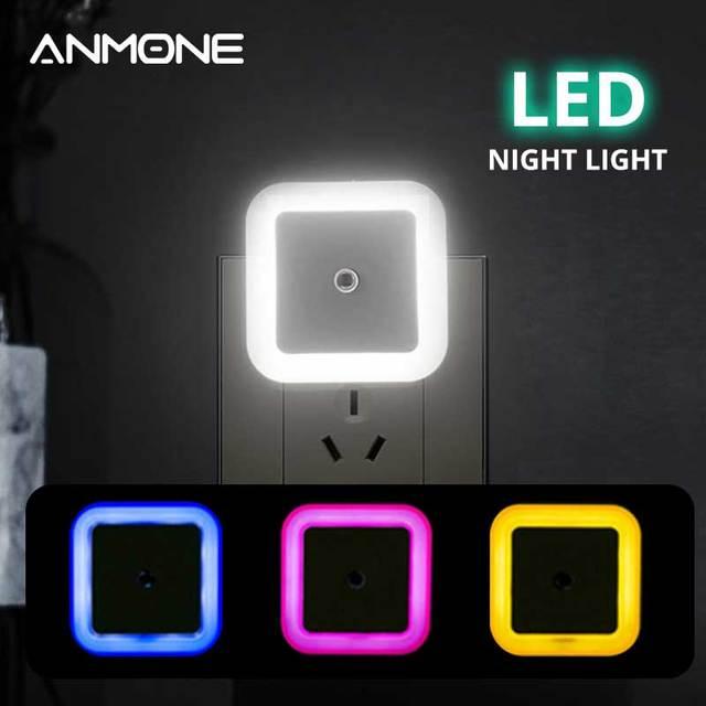 Kablosuz sensör LED gece lambası Mini kare indüksiyon gece lambası ab abd Plug çocuk çocuk odası oturma odası ışık