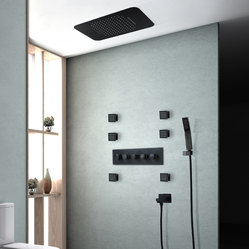 luxury Black Shower System Bathroom Faucet Ceiling Waterfall Music LED ShowerHead Rain Panel Wall Mounted Concealed Mixer