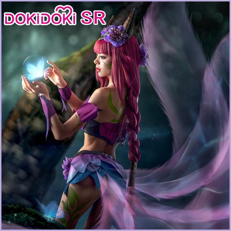 IN STOCK DokiDoki-SR Game League of Legends Cosplay Elderwood Ahri Cosplay Costume Women Purple Costume  League of Legends Ahri 2