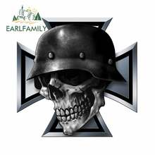 EARLFAMILY 13cm For Iron Cross Skull Motorcycle Car Bumper Stickers Personality Windows Decal Graffiti For SUV JDM VAN
