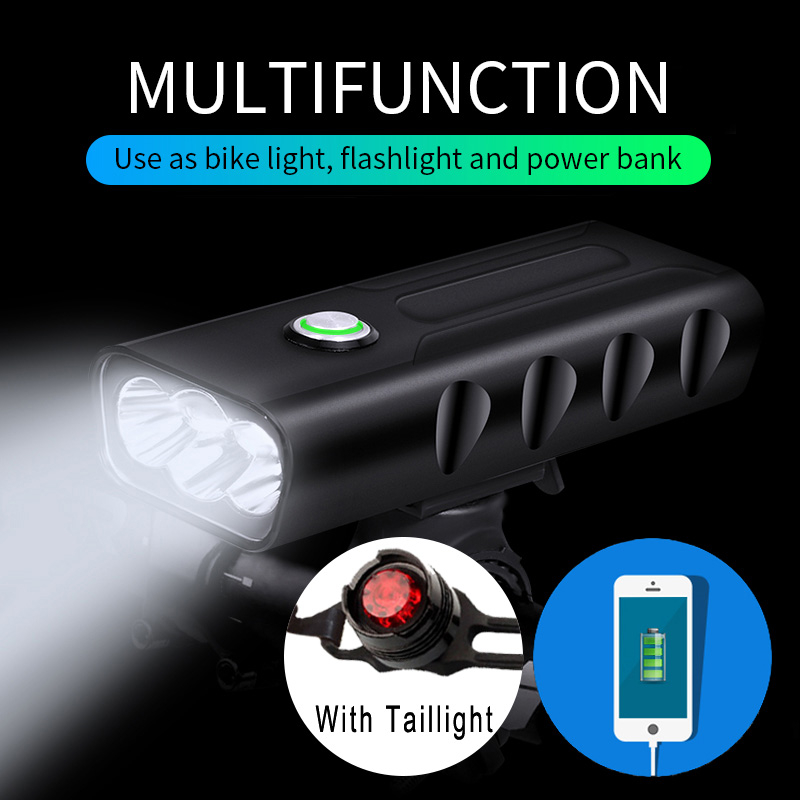 15000Lum Bicycle Headlight Triple T6/L2 Built-In 5200mAh Waterproof USB Rechargeable Cycling Light Accessories With Taillight