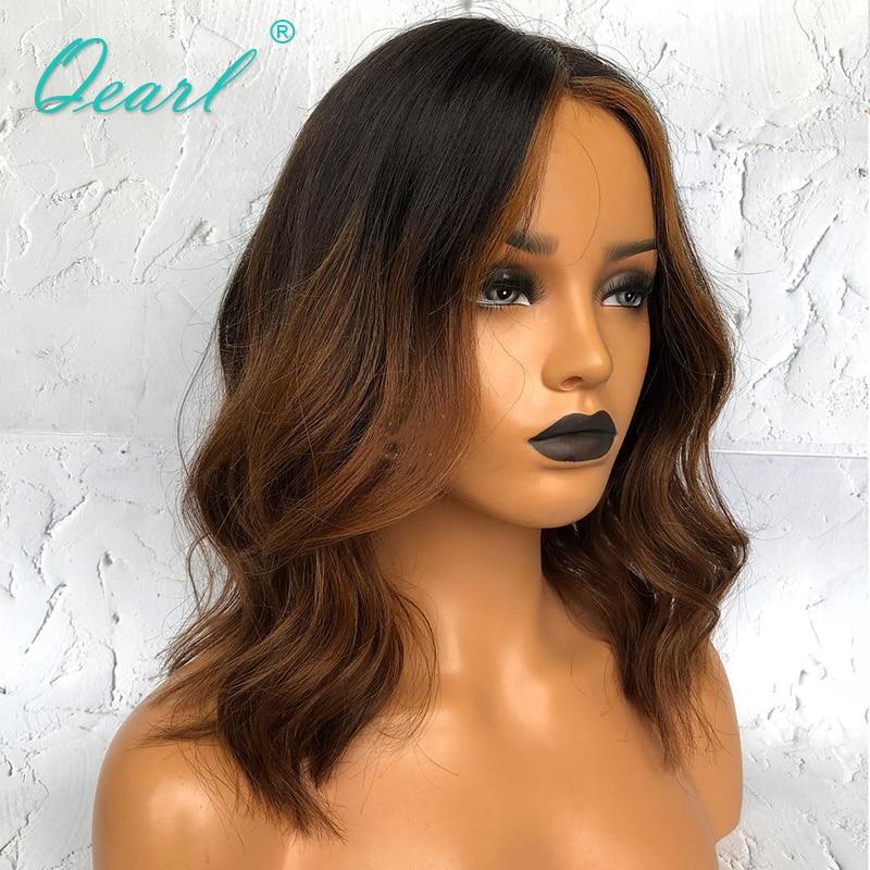 Эффектом деграде (переход от темного к Синтетические волосы на кружеве парики короткие парики из натуральных волос парик с детскими волосами 1b/коричневым Цвет волнистые 13x4/13x6 парики Волосы remy Qearl - 3