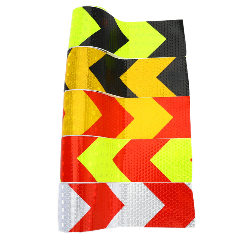5cm*3m Arrow Safety Mark Reflective Tape Stickers Car-styling Self Adhesive Warning Tape Automobiles Motorcycle Reflective Film