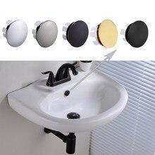 Latão pia overflow tampa redonda buraco capa para banheiro bacia cromo/níquel escovado/orb/escovado ouro/preto fosco terminado
