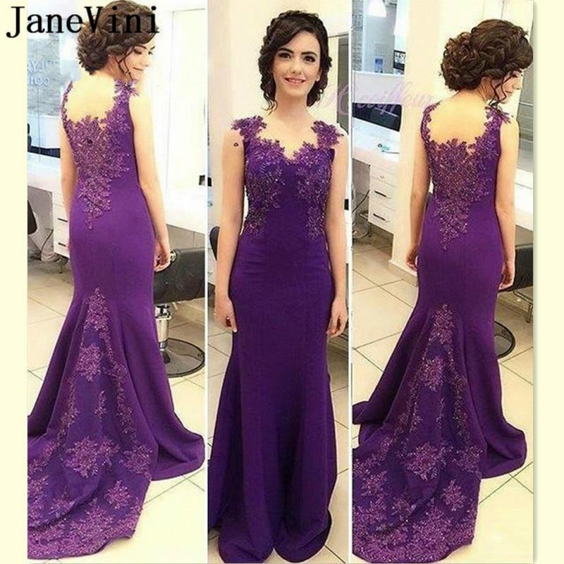 JaneVini Luxury Beaded Purple Evening Dresses Lace Women Long Robe Satin Dress Formal Mermaid Party Evening Gown vestidos longo
