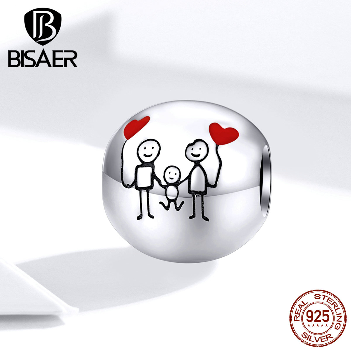 Family Beads BISAER Hot Sale 925 Sterling Silver Sweet Family Photo Beads Charms fit Charm Bracelets DIY Jewelry ECC1339Beads   -