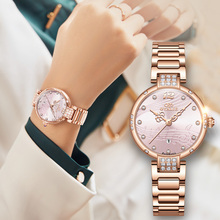 Dress Watches For Women Luxury Diamond Gift Set Pink Red Designer Brand Stainless Steel Bling Automatic Ladies Mechanical Watch