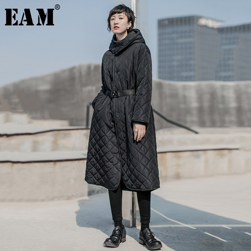 [EAM]  Hooded Black Big Size Warm Cotton-padded Coat Long Sleeve Loose Fit Women Parkas Fashion New Spring Autumn 2020 19A-a822
