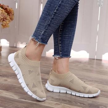 Lucyever Women Spring Autumn Sneaker Knitted Mesh Vulcanized Shoes