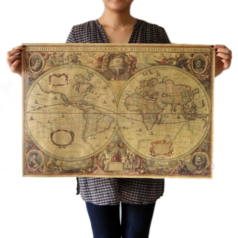 71x50cm Old World Globe Map Matte Brown Paper Poster Retro Vintage Decor