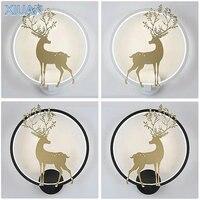 Lampki świąteczne 18W Nordic Antler Deer kinkiet czarny biały złoty kinkiety pilot ściemniający okrągły kinkiet-lampka nocna