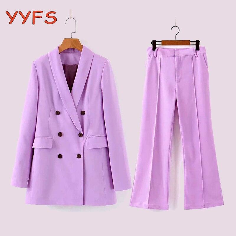 Purple Pants Suit Women Office Lady Blazer Jacket Coat+Pant 2 Piece Set Female 2020 Spring Autumn Elegant Casual Suits Outfits