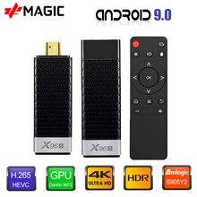 جهاز استقبال للتليفزيون الروبوت 9.0 التلفزيون مربع X96S جهاز استقبال للتليفزيون Amlogic S905Y2 DDR4 4GB 32GB X96 البسيطة PC 5G WiFi H.265 بلوتوث 4.2 TV مشغل الوسائط