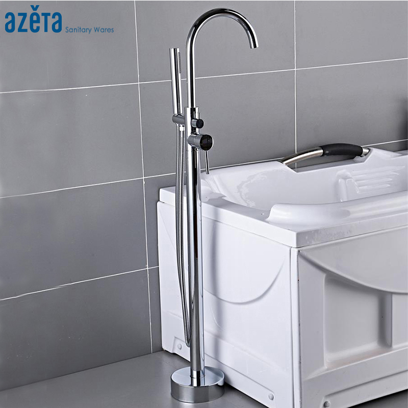 Azeta Chrome Bathtub Faucet Bathroom Floor Standing Bath Tub Mixer Tap With Hand Shower Bathtub Tap Shower Faucet Set MK6611