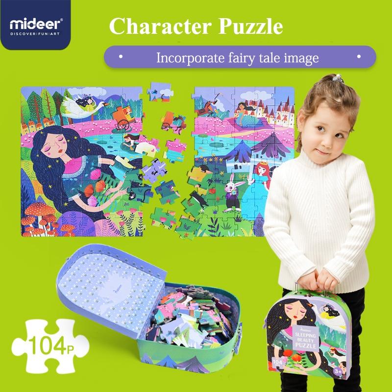 mideer 104 pcs puzzles criancas cognitivo quebra cabeca bebe dormir beleza quebra cabeca brinquedo caixas de