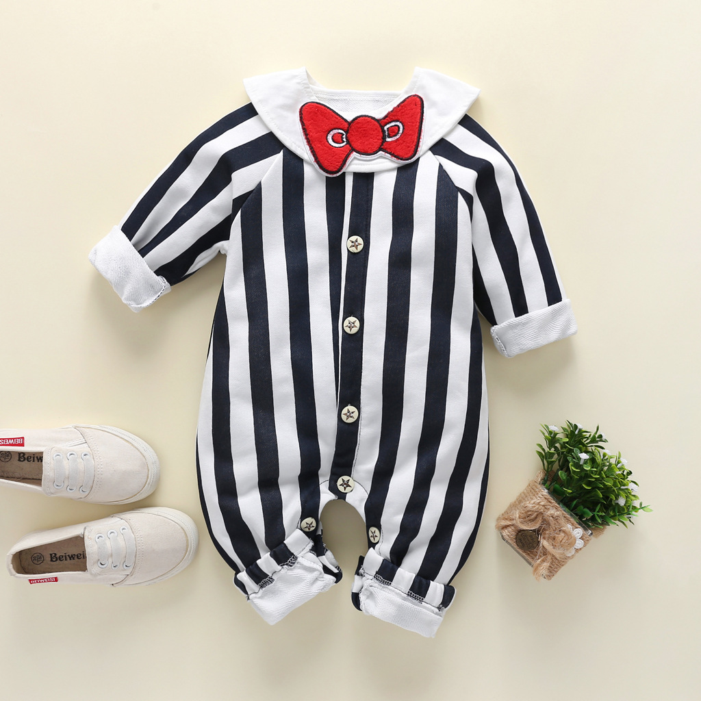 Autumn Winter <font><b>Baby</b></font> Boys Girls <font><b>Rompers</b></font> <font><b>Unisex</b></font> Cotton Long Sleeves Black and White Stripes Jumpsuit Newborn Toddler <font><b>Baby</b></font> Clothes image
