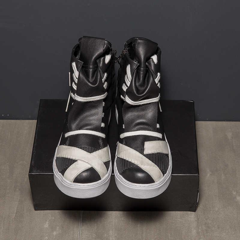 Ayak bileği Botas Hombre deri ayakkabı erkek iş Bota Masculina yüksek Top Chaussure Homme rahat erkek ayakkabı moda Zapatos De Hombre