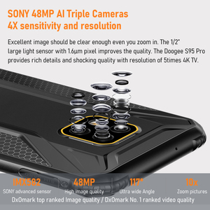 Image 5 - DOOGEE S95 Pro 6.3 אינץ אנדרואיד 9.0 נייד טלפון מוקשח IP68 זרוק הוכחת Smartphone MTK P90 8GB 128GB נייד 48MP אל מצלמות