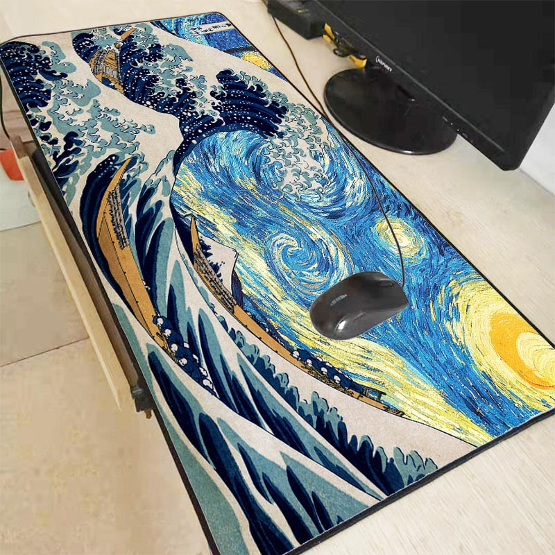 Mairuige High Quality Japanese Wave Art High Speed Large Lock Edge Washable Gaming Mousepad Size For  300*800 And 400*900*2mm