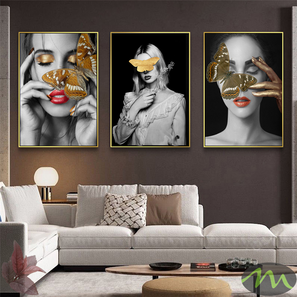 Butterfly On Woman Head Canvas Poster Nordic Abstract Wall Art Print Painting Modern Decorative Picture Living Room Decoration