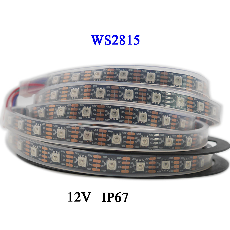 1m/3m/5m DC12V WS2815 (WS2812B/WS2813) RGB LED Pixels Strip Light Individually Addressable Dual-Signal 30/60/144 Pixels/Leds/m