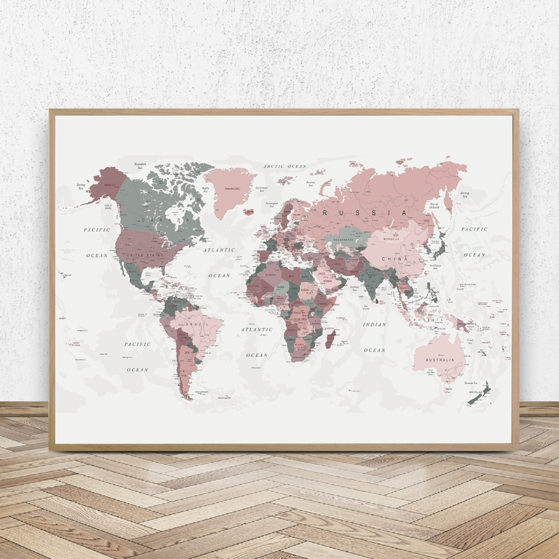 blush pink world map print